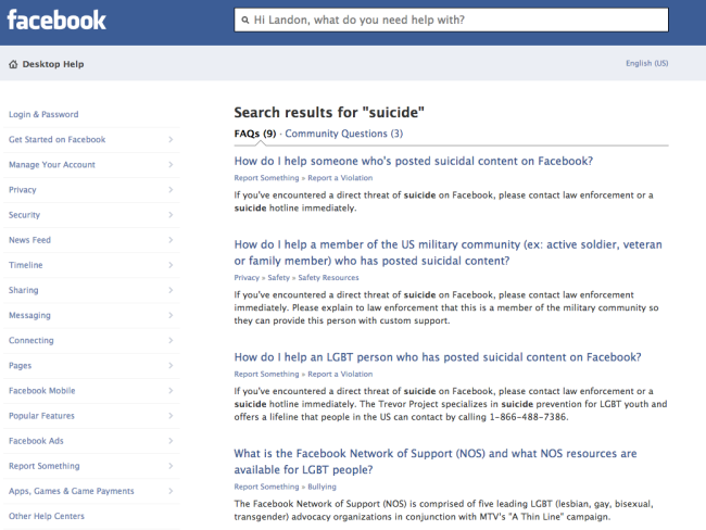 "Facebook search ""suicide"""